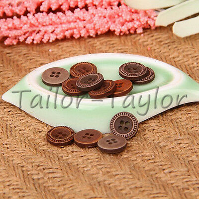 50pcs Round Brown 4 Holes Resin Buttons Cloth Shirt Sewing Craft DIY Decorations