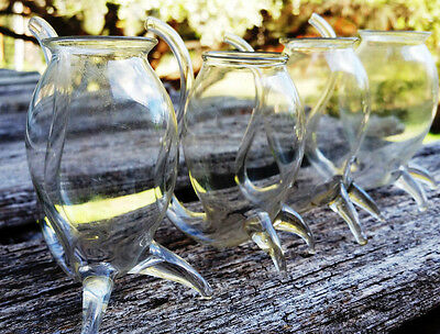Vintage Retro Port Sippers Handblown Clear Glass - Set of 4