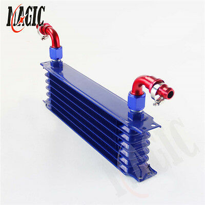 Universal 7 Row AN10 Engine Transmission Trust Oil Cooler w/ Fittings Kit Blue