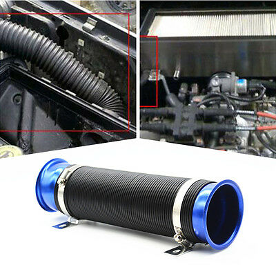 """Car Blue Universal Adjustable 75mm 3"""" Flexible Cold Air Intake Pipe Inlet Hose"""