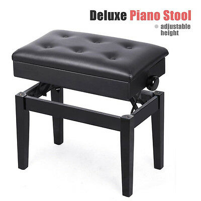 Luxury Piano Keyboard Wood Bench Height Adjust Faux Leather Storage Stand Stool
