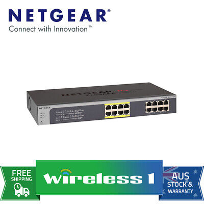 Netgear JGS516PE ProSAFE Plus 16-Port Gigabit Rackmount Switch with PoE