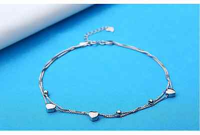 AU Genuine 925 Sterling Silver Stamped Love Hearts beads Double Chain Anklet