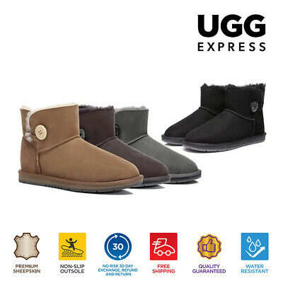 UGG Women Mini Button Ankle Boots - Premium Australian Sheepskin Water Resistant