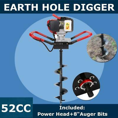 "2.3 HP Gas Powered Post Hole Digger + 8"" auger Bits Drill 55CC Power Engine"
