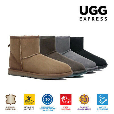 UGG Boots Premium Australian Sheepskin Mini Classic, Water Resistant Ankle Boots