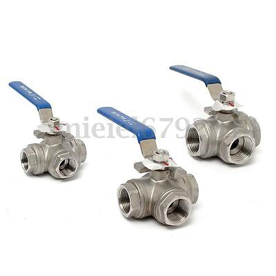 """1/2"""" 3/4"""" 1"""" 3-way Ball Valve Stainless Steel Female Port T/L Type Lever Handle"""