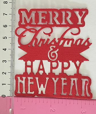 6 x Sizzix 'Merry Christmas & Happy New Year' Die Cuts 216gsm Cardstock G/R/W