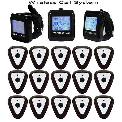New Wireless Restaurant System 3xWrist Receiver+15x Call Button Pager 433MHz 	DS