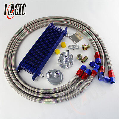 7 Row AN10 Universal Trust Oil Cooler + Filter Relocation Adapter Hose Kit SL