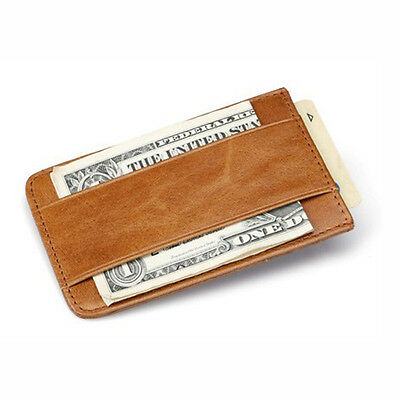 Mens Leather Wallet Money Clip Credit Card ID Holder Thin Slim