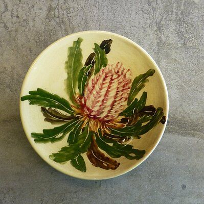 Vintage Martin Boyd Pottery Small Wall Hanging Plate Banksia Handpainted Signed
