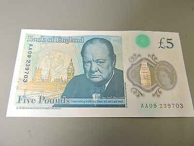 Unusual MisPrint Error New Plastic Polymer £5 Five Pound Note Bank of England