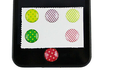 for Apple iPhone 5 5S SE 6 6S 7 Colorful Polka Dot Soft Home Button Sticker x6