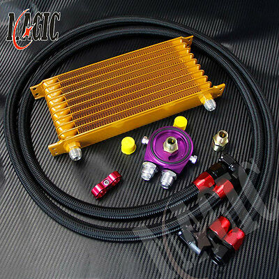 UNIVERSAL ENGINE TRANSMISSION OIL COOLER AN10 10 ROW +HOSE ADAPTE KIT Gold