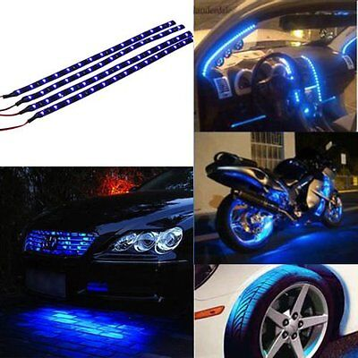 4x 30cm Waterproof 15 Blue LED Car Vehicle Motor Grill Flexible Light Strips 12V