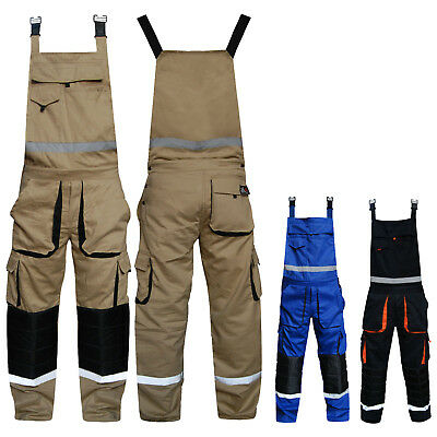 Mens Bib and Brace Overalls Work Trousers Bib Pants Knee Padded Multi Pockets