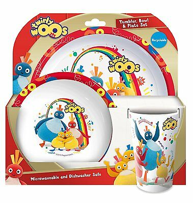Childrens - 3 Piece Twirly Woos Tumbler, Bowl and Plate Set Dinner Set