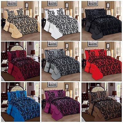 Bedspread 3 piece Damask Flock Quilted BedSpread Comforter Set Size Double king