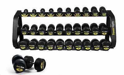 PowerGym Fitness Commercial 2.5 - 40kg Rubber Dumbbells Set 16 Pairs Gym