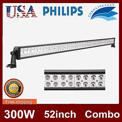 Philips 52Inch 300W Led Light Bar Driving Spot&flood Work Lamp Offroad Truck Suv