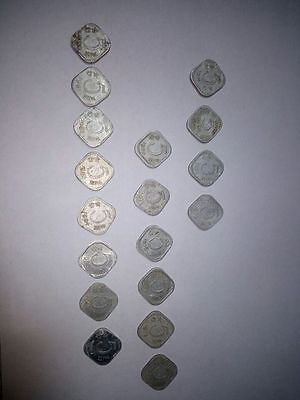 Indian Currency 5 Paisa Coins Set of 18