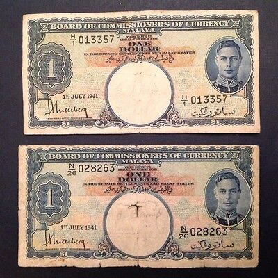 1941 Malaya One Dollar George VI P 11 - lot of 2 Notes