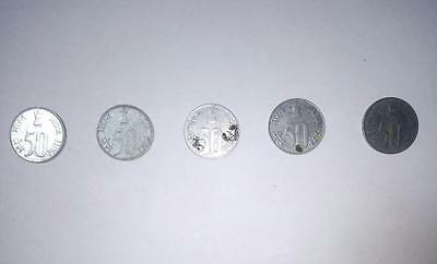 Indian Currency 50 Paisa Coin Set of 5