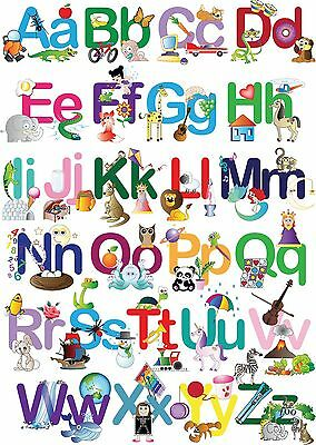 Kids Alphabet Learning Chart Image A4 Poster Gloss Print Laminated