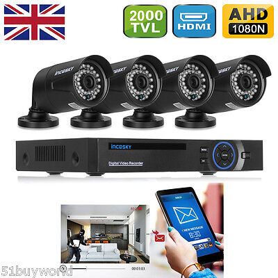 FLOUREON 8 Channel 1080N AHD DVR+4X Outdoor 2000TVL 960P Camera Security System