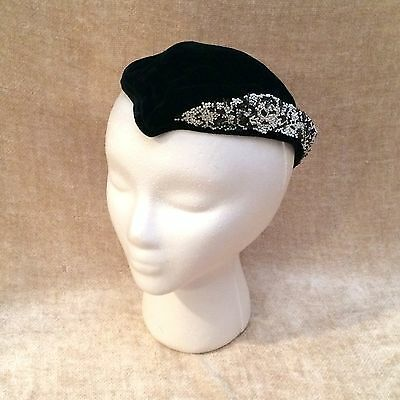 Vintage 1950's Box Hat Retro Black Partial Beaded Brim Hipster Performer