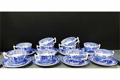 SPODE Tea cup Saucer Set  x 1 Italian Blue English fine bone china