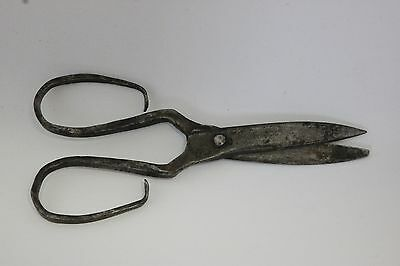 "Small 6 1/2"" Antique 19C Wrought Iron Hand Forged Sewing Scissors Shears Marked"
