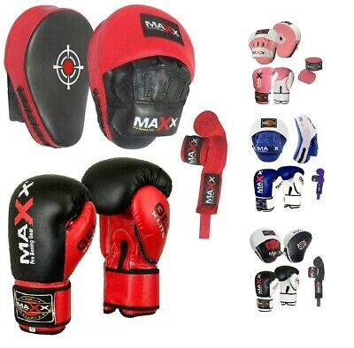 Maxx Pro GEL Leather Curved Focus Pads & Boxing gloves Set Hand Wrap MMA Pad UFC