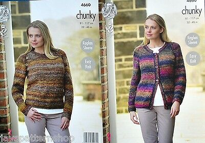 Ladies Chunky Knit Easy Knit Sweater & Cardigan Knitting Pattern 32 - 46 Inch