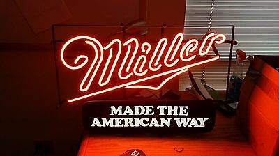 Miller Made The American Way Neon Beer Sign Bar Light High Life Ale Classic
