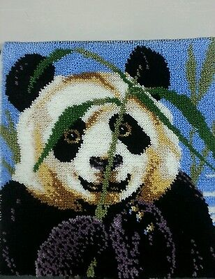 "Completed Latch Hook Panda Bear Rug 30""x30"""