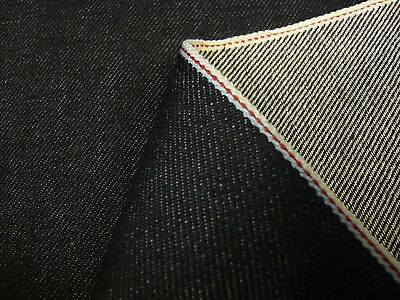 5mts SUPERIOR QUALITY COTTON/LYCRA STRETCH RED SELVEDGE DENIM DARK INDIGO 84cms