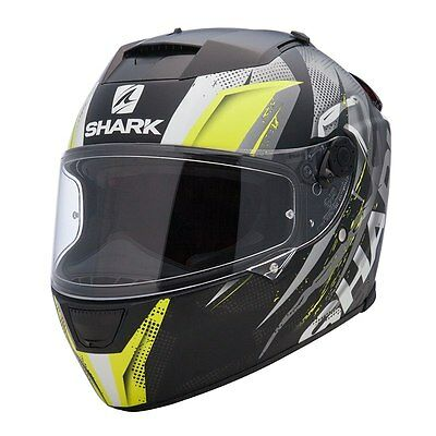 Casque integral SHARK Speed-R 2 Max Vision gris jaune Tizzy Mat moto scooter