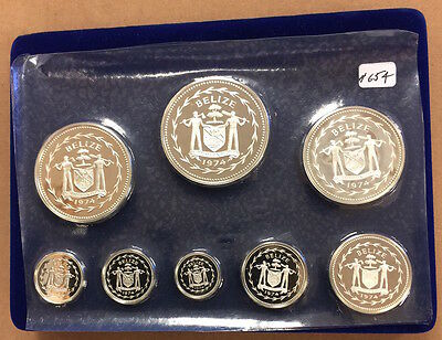 Belize 1974 8 Pc. Silver Proof Set (#654) All Coins Sterling Silver. Box & Seale