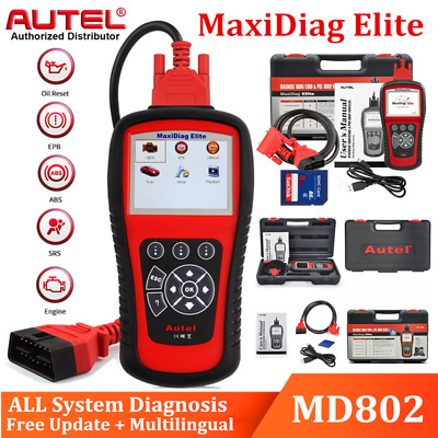 Autel MaxiDiag Elite MD802 All System OBDII Diagnostic Scanner SRS ABS CA Stock