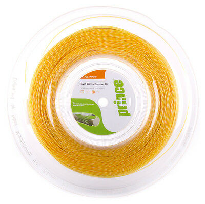 Prince Synthetic Gut Duraflex 1.30mm 16 Tennis Strings 200M Reel - GOLD