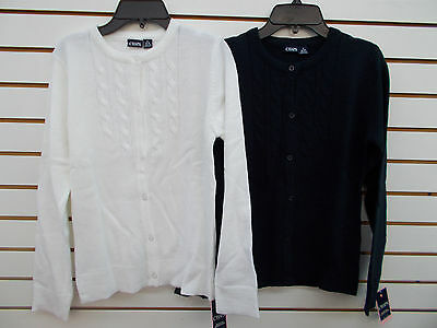 Girls Chaps $32 White or Navy Button Close Uniform Sweater Size S(7)-XL(16)