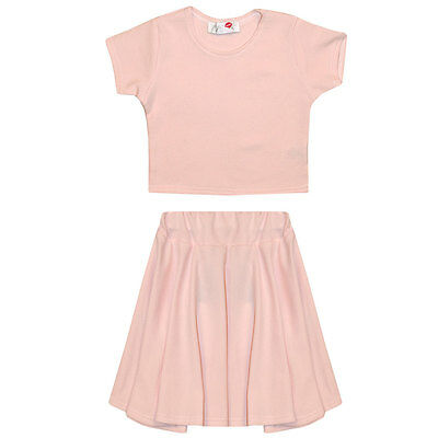 Childrens Girls Kids New Pink Skater Skirt Crop Top Age 7 8 9 10 11 12 13 Years