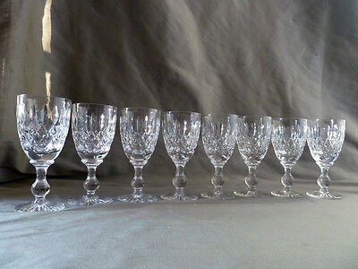 8  Cumbria Crystal wine glasses/goblets on baluster foot, not signed