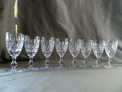 8 crystal wine glasses/goblets on baluster foot, not signed, VGC