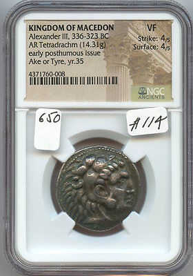 Kingdom of Macedon Alex. III 336-323 BC Tetradrachm (#114) NGC VF. Strike 4/5