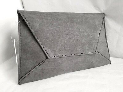 New Faux Suede Grey Day Evening Clutch Bag Wedding Prom Party Club Xmas Envelope