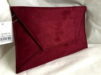 New Faux Suede Burgundy Day Evening Clutch Bag Wedding Party Club Xmas Envelope