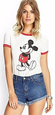 Disney Mickey Mouse Red & White Ringer T-Shirt - Juniors S M L - New w/Tags!
